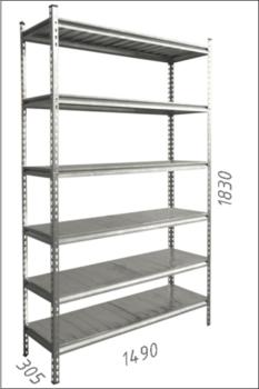 купить Стеллаж металлический с металлической плитой Gama Box 1490Wx 305Dx1830 Hмм, 6 полок/MB в Кишинёве