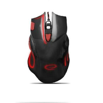 Esperanza HAWK MX401, Optical Mouse for professional game players, 7D, 800/1200/1600/2400 DPI, illuminated, braided cable 1,5 m, USB, Black-Red