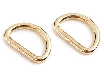 Inel metalic tip D, lățime 32 mm, auriu