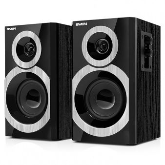 "SVEN SPS-619 Black,  2.0 / 2x10W RMS, headphone jack, wooden, (3""+1"")"