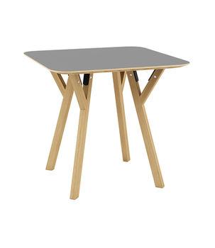 cumpără Masă pătrată din lemn cu picioare din lemn şi suport din metal 800x800x750 mm, gri în Chișinău
