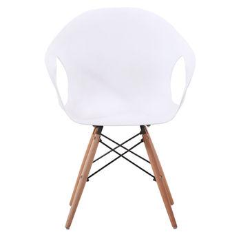 купить Пластиковый стул с деревянными ножками, 550x600.5x440x900 мм, белый в Кишинёве