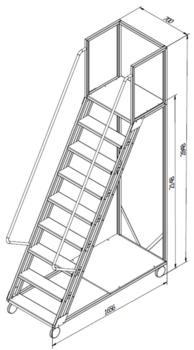 купить Лестница платформа Gama Cirrus 2148x1656x700 мм,  8+1 ступений в Кишинёве