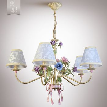 N&B Light Люстра Романтика 6405-1 крем/розовый/сиреневый