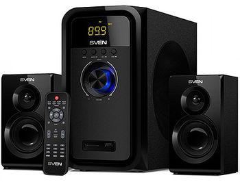 Active Speakers SVEN MS-2051 Black, mini music system: LED display, remote, Bluetooth, FM Tuner, USB port, SD slot ( 2.1 surround, RMS 55W, 30W subwoofer, 2x12.5W Satellites )