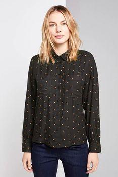 Блуза Tom Tailor Черная в оранжевый горошек tom tailor 1015480