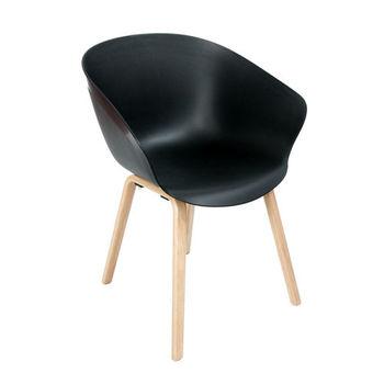 Стул пластиковый с деревянными ножками 570x590x790 мм, черный