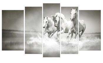 Белые лошади 0001 -  Триптих  из 5 частей