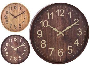 "Часы настенные круглые 40cm, H4cm ""дерево "", пластик, 2 цвет"