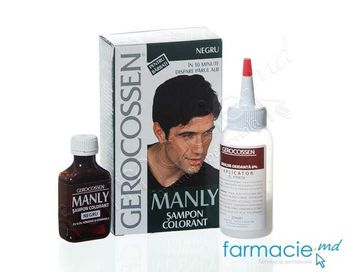 купить Gerocossen Manly sampon colorant p/u barbati Negru 30ml в Кишинёве