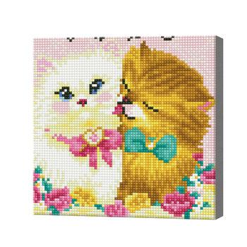 Два кота, 20x20 см, алмазная мозаика