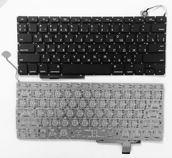 "Keyboard Apple Macbook Pro 17"" A1297 w/o frame ""ENTER""-small ENG/RU Black"