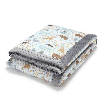 Одеяло La Millou велюр+хлопок Dundee & Friends Blue / Grey 140x200 см