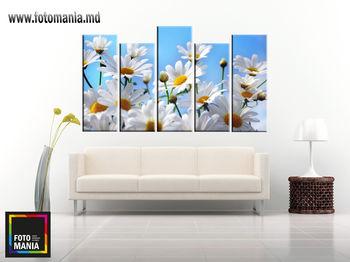 Картина напечатанная на холсте - Триптих из 4 частей Цветы 0012 / Печать на холсте