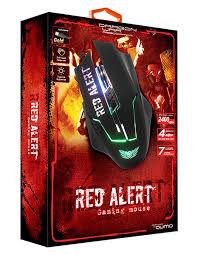 Игровая мышь Qumo Red Alert, оптическая, 1200-2400 dpi, 7 кнопок, Soft Touch, 7-цветная подсветка, USB