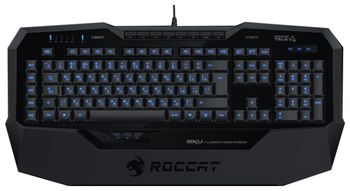 ROCCAT Isku / Illuminated Gaming Keyboard, Extra-large wrist rest, 8 programmable keys, Blue key illumination (6-level brightness), MACRO LIVE! Recording, EASY-SHIFT[+]™, USB, Black
