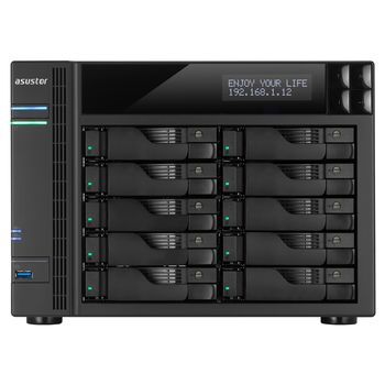 "10-bay NAS Server  ASUSTOR ""AS7010T"", Intel Core i3-4330 (Dual-Core) 3.5GHz, 2GB DDR3L(Max.16GB), 2.5""/3.5""SATA x10 (Hot Swap), LCD Panel, USB3.0 x3, USB2.0 x2, eSATA x2, GigaLAN x2, PCIe x1, HDMI, S/PDIF, AES-NI, HT, IR, Surveillance: <49 (4 Free)"