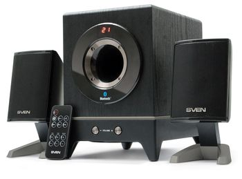 SVEN MS-350 Black,  2.1 / 10W + 2x4W RMS, Bluetooth, , Digital LED display, , set the switch-off time, remote control, all wooden