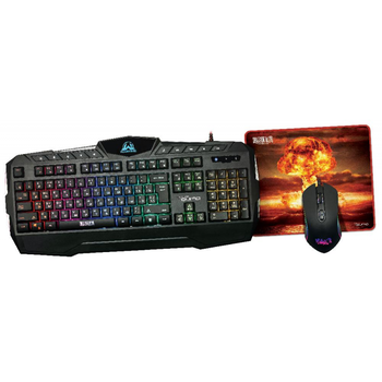 Gaming Keyboard & Mouse & Mouse Pad Qumo Wartime, Fn hotkeys, RGB, AntiGhosting, Black
