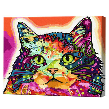 Разноцветный кот, 40х50 см, картина по номерам Артукул: GX25863