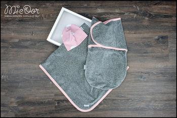 купить Набор Mi-e Dor велюровый (плед,кокон на липучках, шапочка) розовый в Кишинёве
