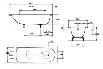 Ванна прямоугольная стальная Kaldewei Eurowa 170