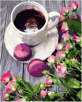 Картина по номерам 40x50 Кофе с макарунами VA0780