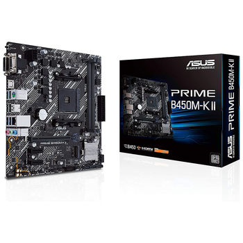 Материнская плата ASUS PRIME B450M-K II AMD B450, AM4, Dual DDR4 4400MHz, PCI-E 3.0/2.0 x16, HDMI/DVD-D/D-Sub, USB 3.1, SATA RAID 6Gb/s, M.2 x4 Socket, SB 8-Ch., GigabitLAN, LED lighting