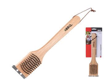 Щетка для чистки гриля BBQ 2in1 30cm, с деревянной ручкой