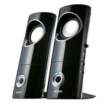 Speakers SVEN 245 Black (USB),  2.0 / 2x2W RMS, USB power supply, headphone jack, microphone input, 2.2""