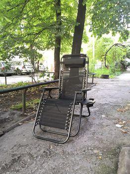 """Шезлонг - Кресло """"Чёрный"""", раскладной, с подголовником"""