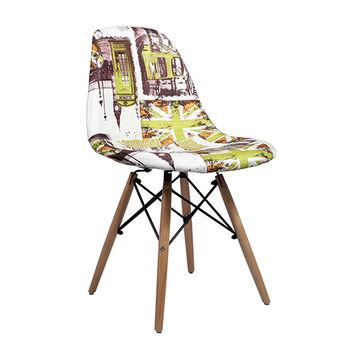 купить Стул пластиковый с деревянными ножками, зелёный с тематикой Лондон в Кишинёве