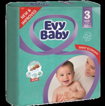купить Evy Baby подгузники Midi 3, 5-9кг. 90 шт в Кишинёве