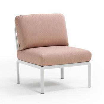 Кресло модуль центральный с подушками Nardi KOMODO ELEMENTO CENTRALE BIANCO-rosa quarzo 40373.00.066