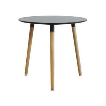 cumpără Masă rotundă cu suprafaţa din MDF, picioare din lemn, 800x750 mm, negru în Chișinău