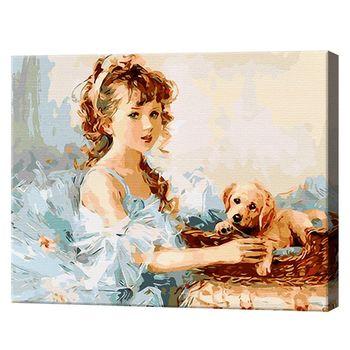 Картина по номерам 40х50см Девочка с собачкой