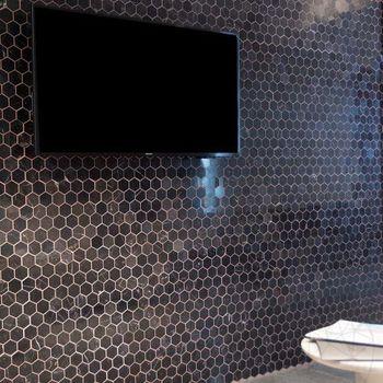 купить Мозаичный мрамор Nero Marquina Hexagon Полированный 2,5 x 2,5 см в Кишинёве