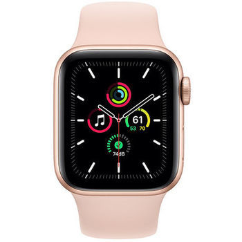 Apple Watch SE 44mm Aluminum Case with Pink Sand Sport Band, MYDR2 GPS, Gold