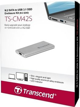 M.2 SSD External case Transcend TS-CM42S, Type 2242, USB3.1 (5Gb/s) interface, Silver, 81.41mm x 33.6mm x 7.5mm