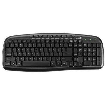 Genius KB-M225C Multimedia Keyboard, 9-keys, water spill resistant, USB, Black