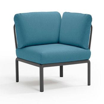 Кресло модуль угловой с подушками Nardi KOMODO ELEMENTO ANGOLO ANTRACITE-adriatic Sunbrella 40374.02.142