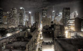 Картина напечатанная на холсте - Абстрактный город 0010 / Печать на холсте