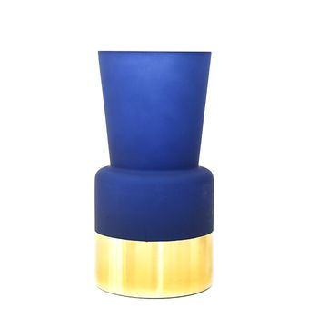 Декоративная ваза, Стекло, 26 см, Синяя