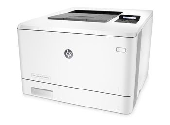 HP Color LaserJet Pro M452nw Printer, Up to 27ppm, 600x600 dpi, Up to 50000 p., 256 MB NAND Flash, 128 MB DRAM, 2 line LCD display,  PCL 5c/6, Postscript 3, USB 2.0, Ethernet 10/100Base-TX, Wi-Fi 802.11 b/g/n, HP ePrint, Apple AirPrint™, White