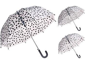 """Зонт-трость прозрачный """"Горох/звезды"""" D68cm"""