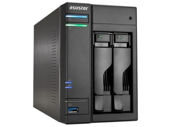 "2-bay NAS Server  ASUSTOR ""AS6302T"", Intel Celeron J3355 (Dual-Core) 2.0-2.5GHz, 2GB DDR3L(1GB x2, Max. 8G), 2.5""/3.5""SATA x2 (Hot Swap), USB3.0 x4 (Type A x3, Type C x1), Gigabit LAN x2, HDMI, S/PDIF, WOW, AES-NI, HT, IR, Surveillance: <36 (4 Free)"