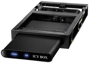 "Case External 2.5"" RaidSonic ICY BOX ""IB-266StUSD-B"" enclosure with docking station for SATA HDD, USB2.0 & eSATA, Aluminium/Plastic, 3.5'' docking station for stationary use, 1x Transport pouch, 1x Screwdriver, Dark"