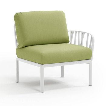 Кресло модуль правый / левый с подушками Nardi KOMODO ELEMENTO TERMINALE DX/SX BIANCO-avocado Sunbrella 40372.00.139