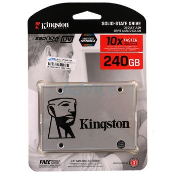"""2.5"""" SSD 240GB  Kingston UV400, SATAIII, Sequential Reads:550 MB/s, Sequential Writes:350 MB/s, Max Random 4k: Read: 90,000 IOPS / Write: 25,000 IOPS (IOMETER) , 7mm, Controller Marvell 88SS1074, NAND TLC"""""""