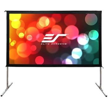 "Elite Screens 120""(16:9) 266x149cm Yard Master 2 Outdoor/Indoor Projector Screen with Stand, Black, Silver Aluminum Frame, Assembles without the use of tools, Lightweight aluminum square tube construction, Carrying bag"